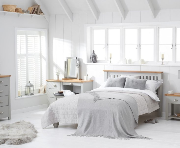 Photo of Somerset oak and grey double bed