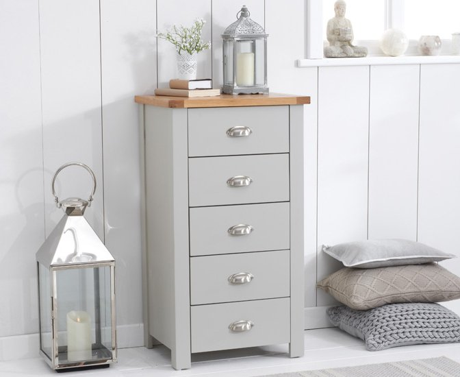 Photo of Somerset oak and grey 5 drawer chest
