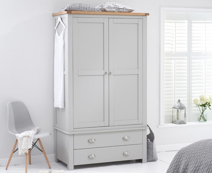 Photo of Somerset oak and grey two door two drawer wardrobe
