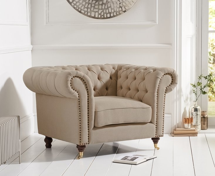 Photo of Cameo chesterfield beige linen armchair