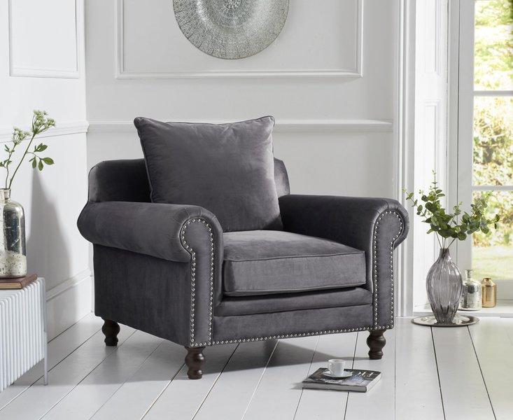 Photo of Everson grey velvet armchair