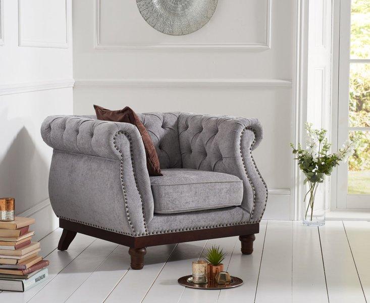 Photo of Henbury chesterfield grey plush fabric armchair
