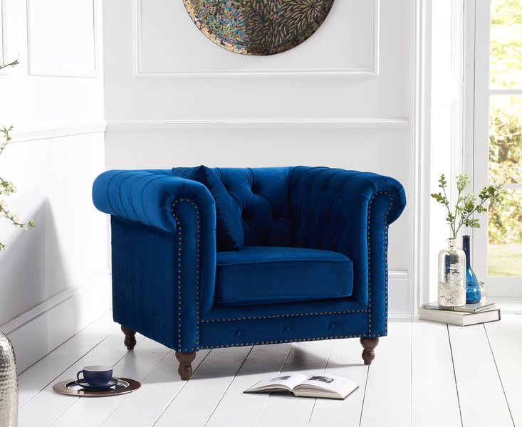 Photo of Milano chesterfield blue plush armchair