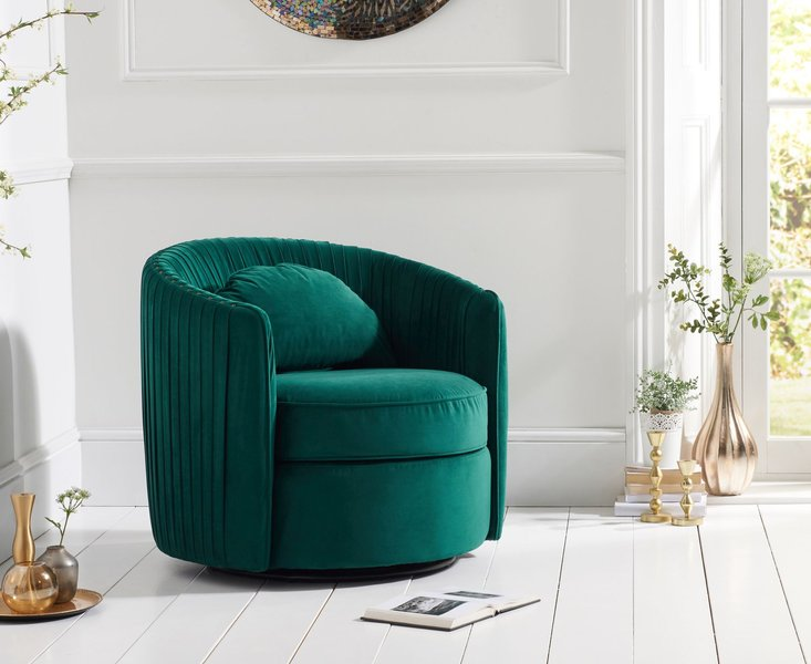 Photo of Sadie green velvet swivel chair