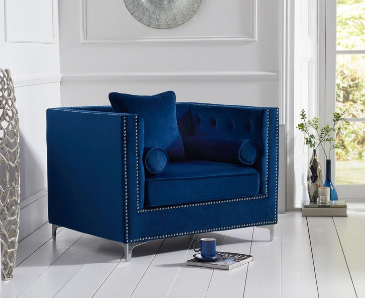 Photo of New jersey blue velvet armchair