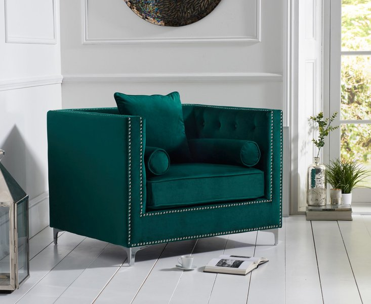 Photo of New jersey green velvet armchair