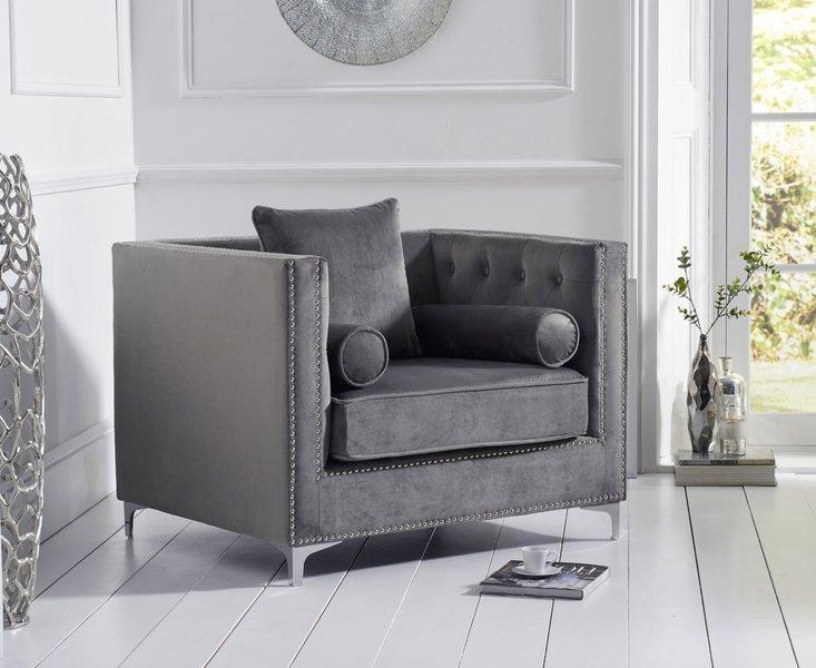 Photo of New jersey grey velvet armchair