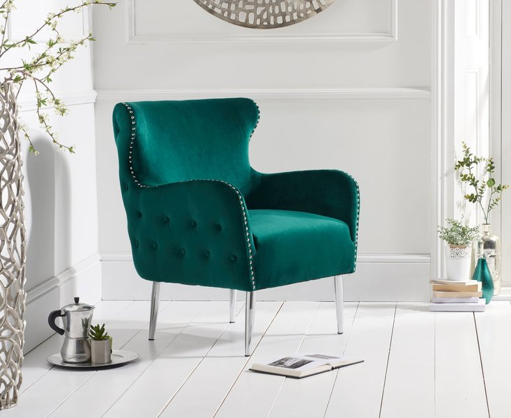 Photo of Brema green velvet accent chair