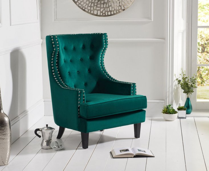 Photo of Pamela green velvet accent chair