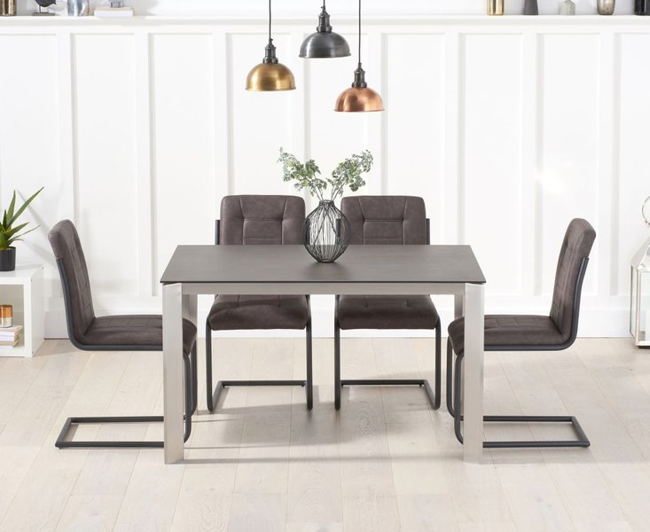 Photo of Antonia 130cm mink/brown spanish ceramic dining table with alana chairs