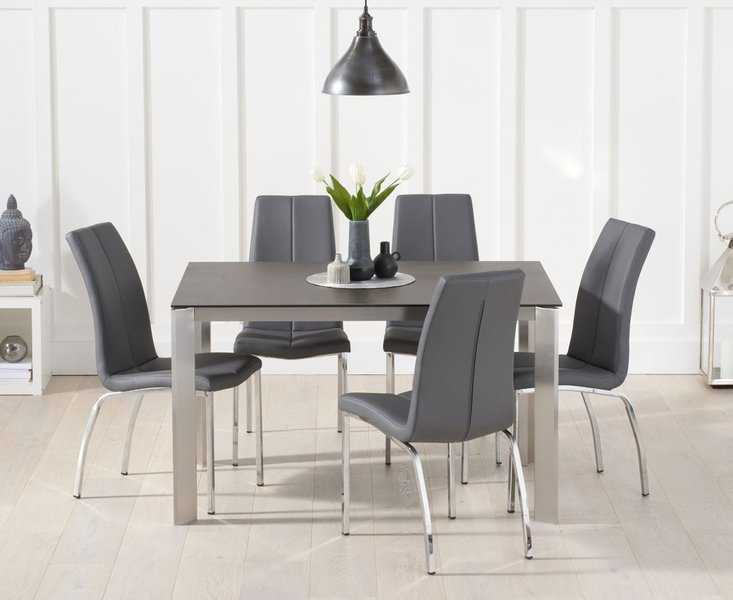 Photo of Antonia 130cm mink/brown spanish ceramic dining table with cavello chairs