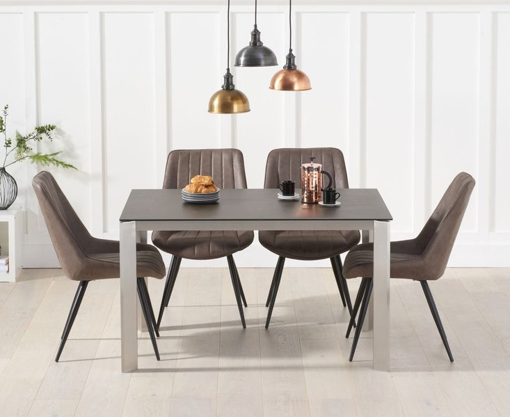 Photo of Antonia 130cm mink/brown spanish ceramic dining table with marcel antique chairs