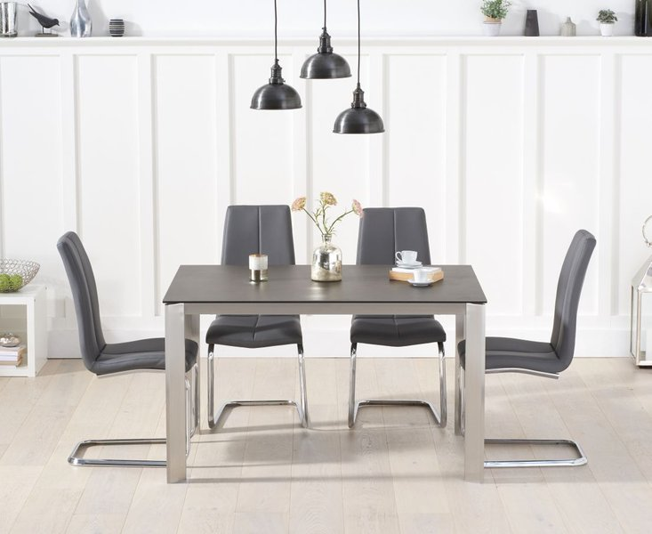 Photo of Antonia 130cm mink/brown spanish ceramic dining table with tarin faux leather chairs