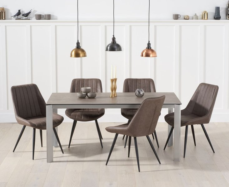 Photo of Antonia 170cm brown italian ceramic dining table with marcel antique chairs