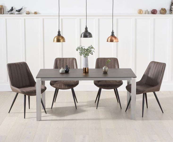 Photo of Antonia 170cm mink/brown spanish ceramic dining table with marcel antique chairs