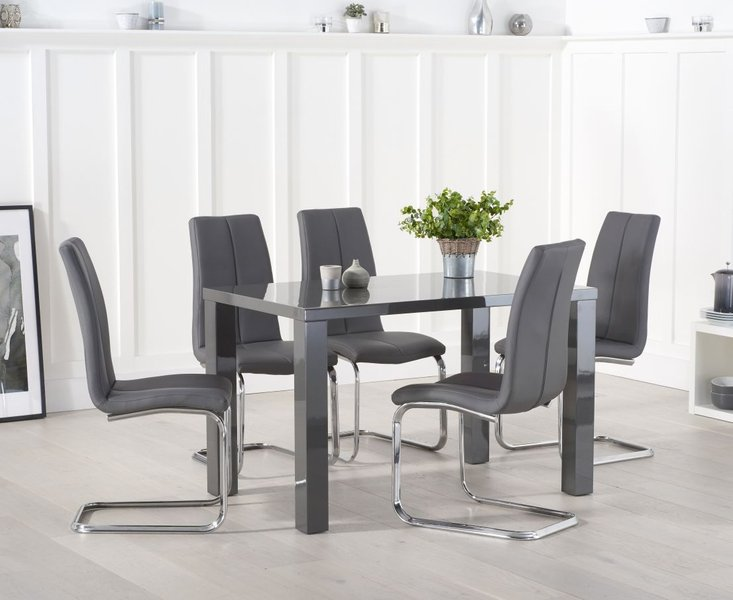 Photo of Atlanta 120cm dark grey high gloss dining table with tarin chairs