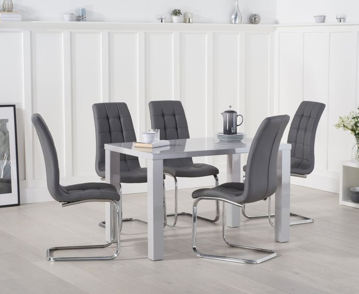 Photo of Atlanta 120cm light grey high gloss dining table with lorin chairs