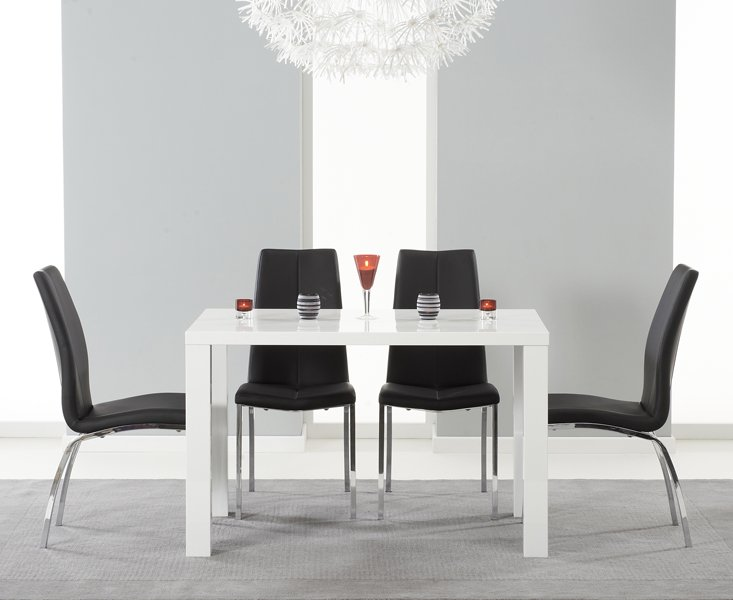 Photo of Atlanta 120cm white high gloss dining table with cavello chairs