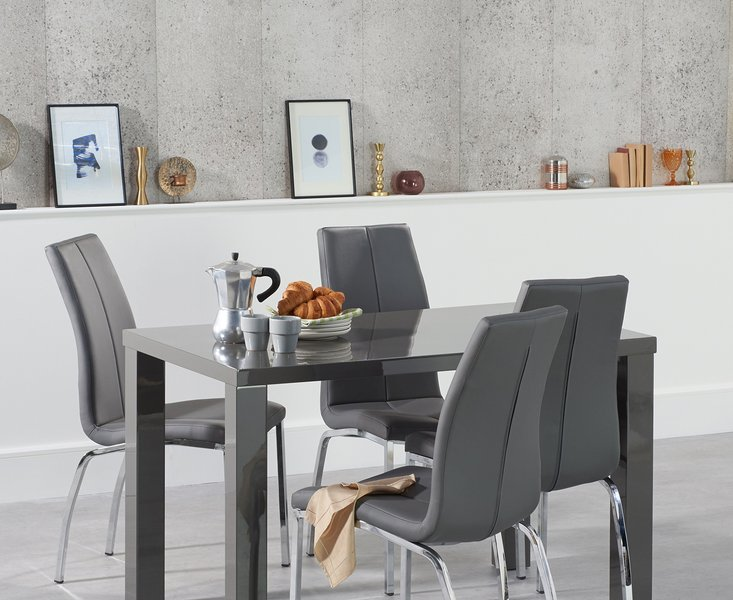 Photo of Atlanta 120cm dark grey high gloss dining table with cavello chairs