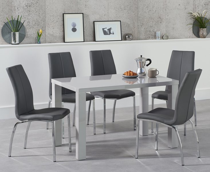 Photo of Atlanta 120cm light grey gloss dining table with cavello chairs