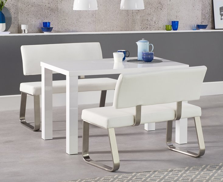 Photo of Atlanta 120cm white high gloss dining table with malaga white benches