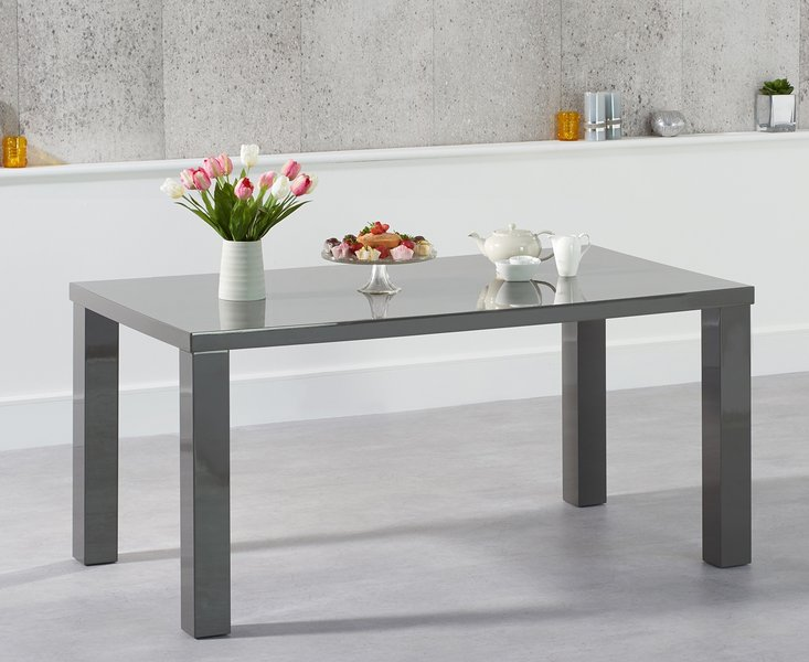 Photo of Atlanta 160cm dark grey high gloss dining table