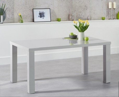 Photo of Atlanta 160cm light grey high gloss dining table