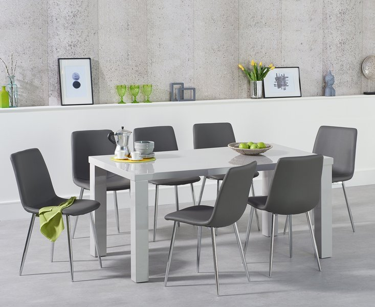 Photo of Atlanta 160cm light grey high gloss dining table with hamburg faux leather chrome chairs