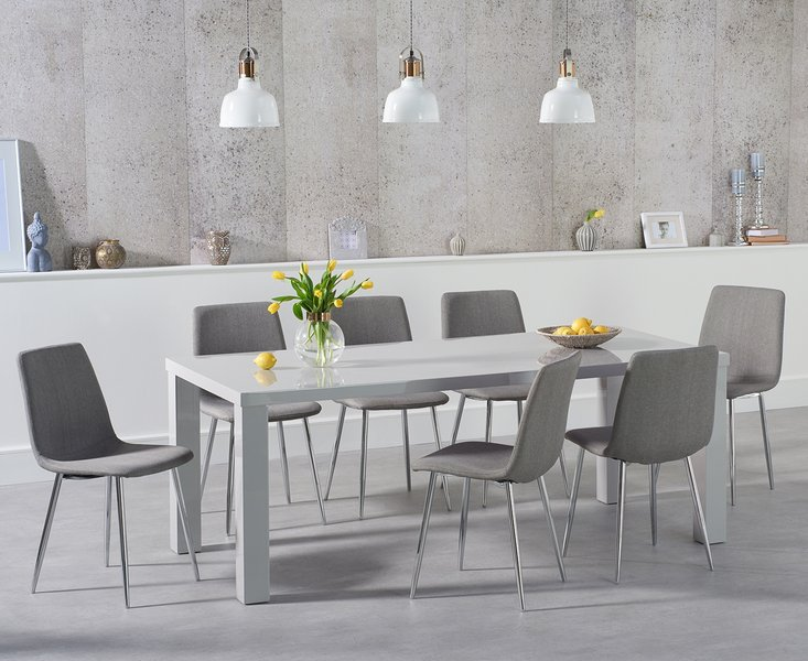 Photo of Atlanta 180cm light grey high gloss dining table with hamburg fabric chairs