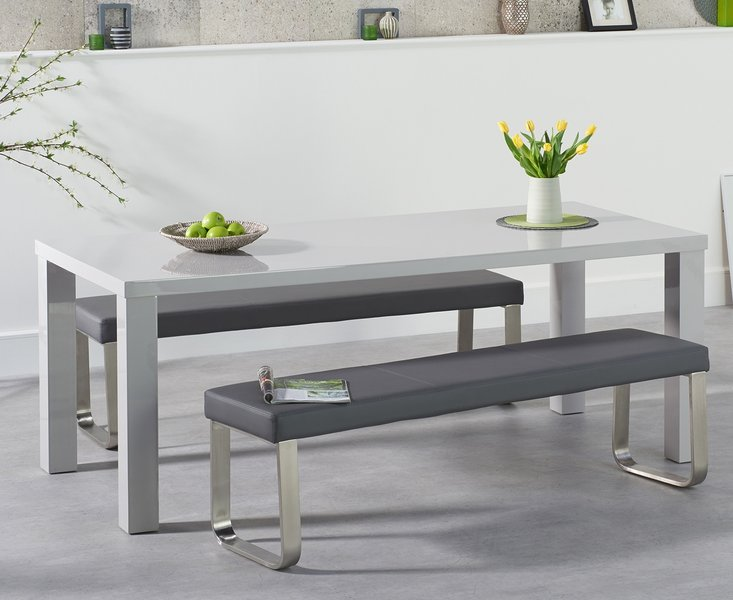 Photo of Atlanta 180cm light grey high gloss dining table with atlanta grey benches