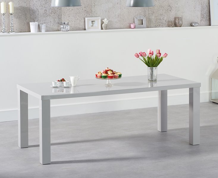 Photo of Atlanta 200cm light grey high gloss dining table