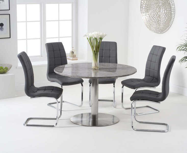 Photo of Baha 120cm round grey marble dining table with lorin chairs