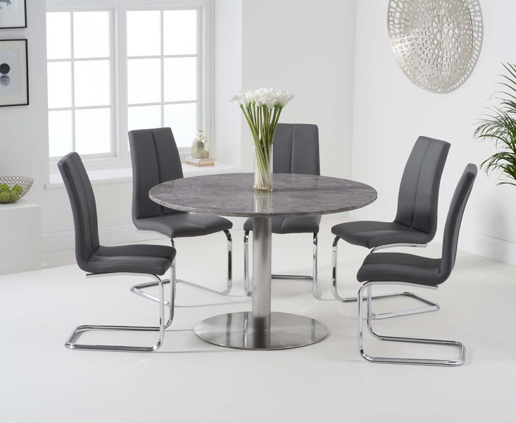 Photo of Baha 120cm round grey marble dining table with tarin chairs