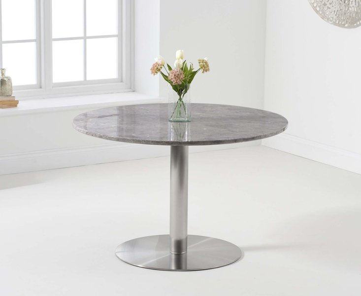 Photo of Baha 120cm round grey marble dining table