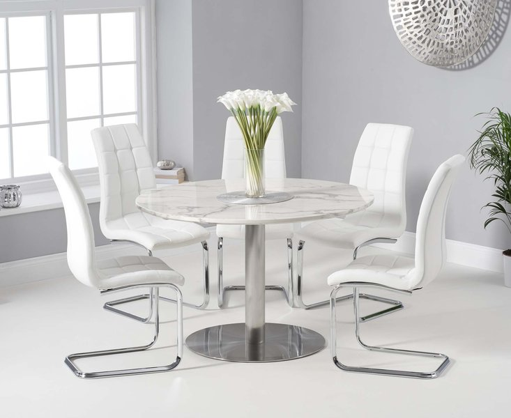 Photo of Baha 120cm round white marble dining table with lorin chairs