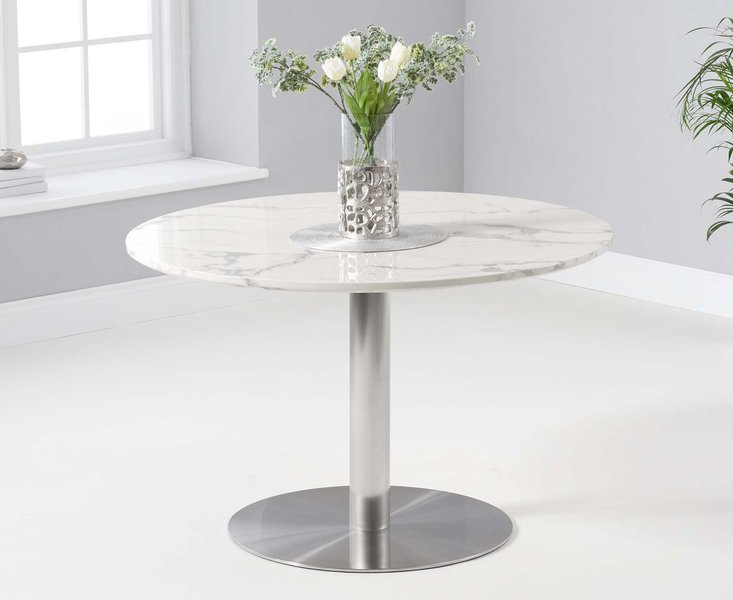 Photo of Baha 120cm round white marble dining table