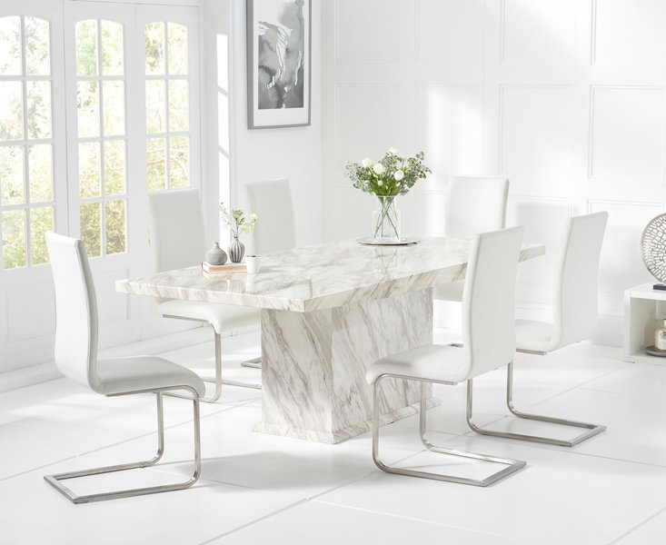 Photo of Calacatta 180cm marble dining table with malaga chairs