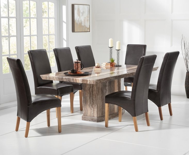 Photo of Carvelle 200cm brown pedestal marble dining table with cannes chairs