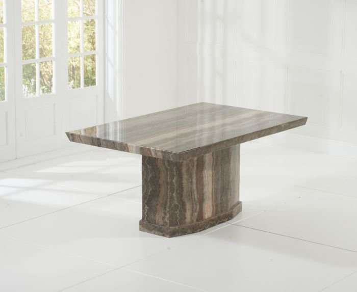 Photo of Carvelle 160cm brown pedestal marble dining table