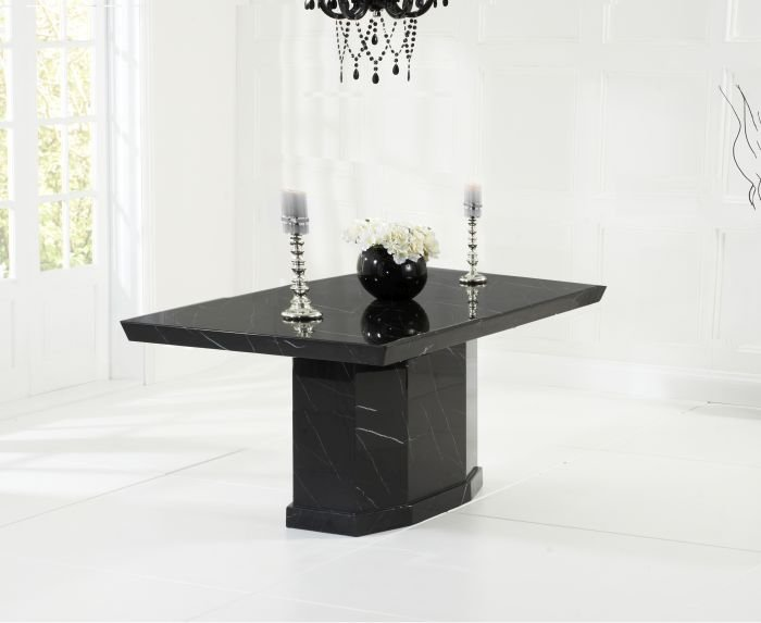 Photo of Carvelle 160cm black pedestal marble dining table