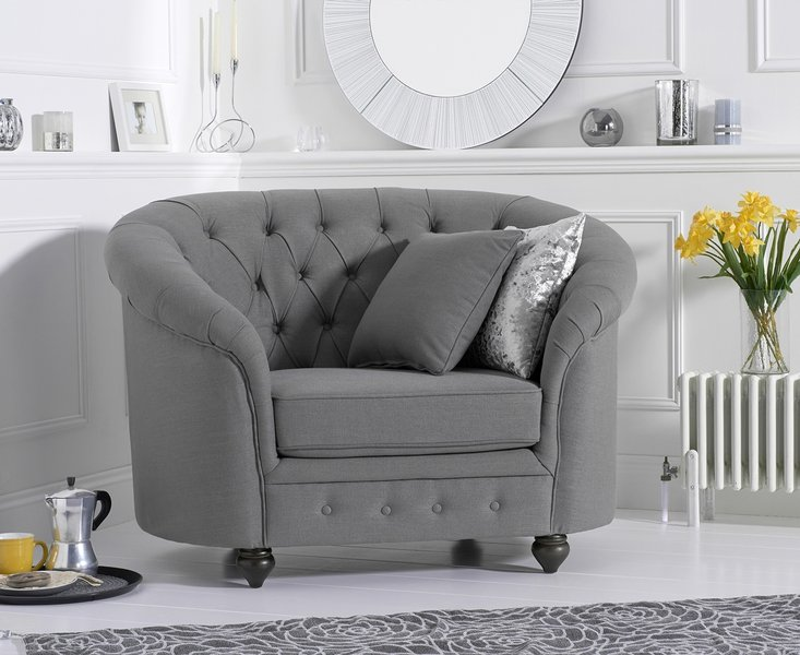 Photo of Cara chesterfield grey linen fabric armchair