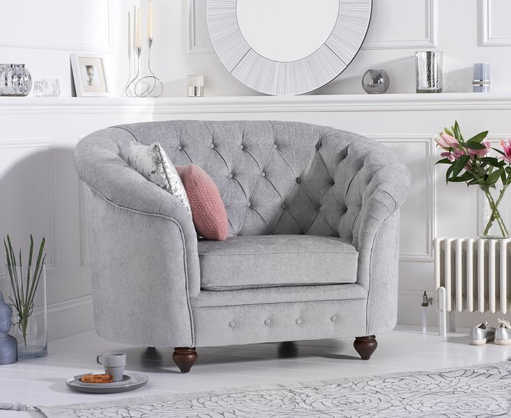 Photo of Cara chesterfield grey plush fabric armchair