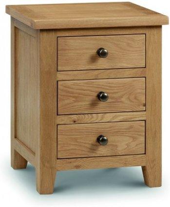 Photo of Marlborough oak 3 drawer bedside chest