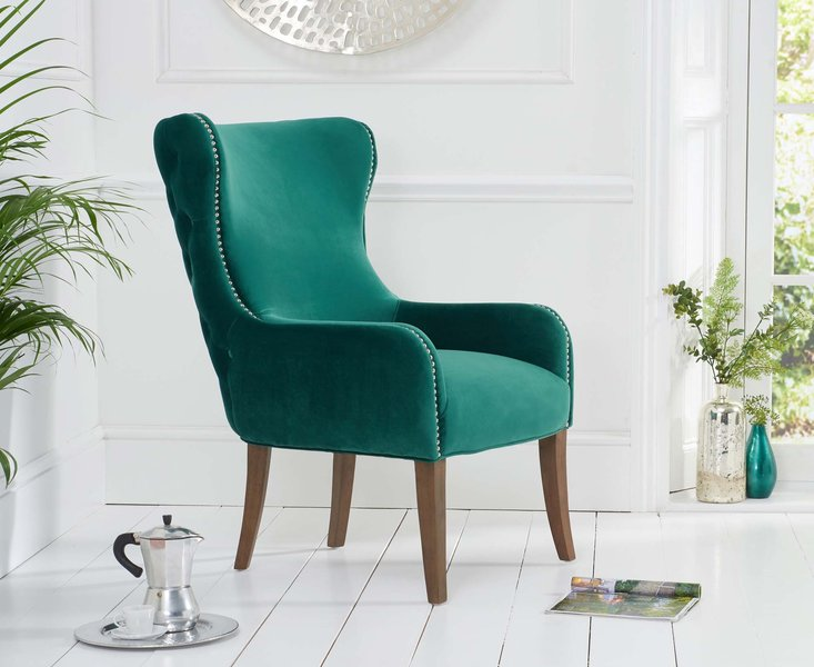 Photo of Laura green velvet accent chair