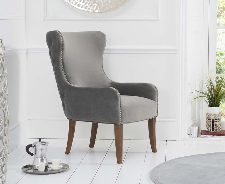 Photo of Laura grey velvet accent chair