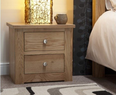Photo of Reno oak 2 drawer bedside chest