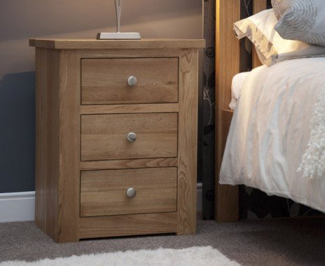 Photo of Reno oak 3 drawer bedside chest