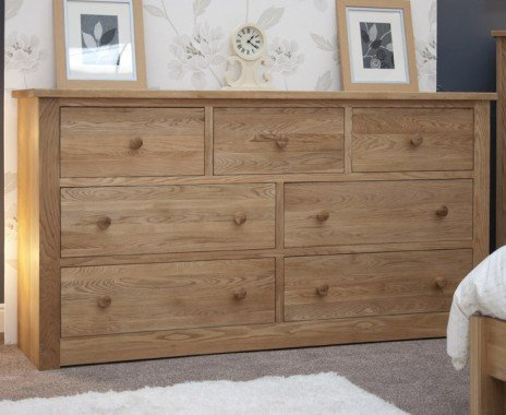 Photo of Reno oak 7 drawer wide chest