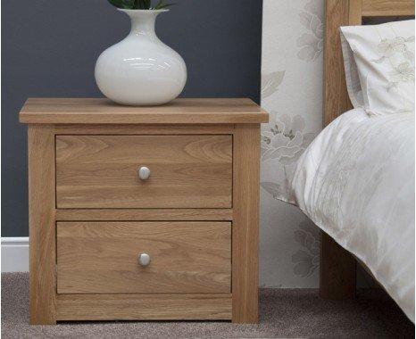 Photo of Reno oak wide bedside chest