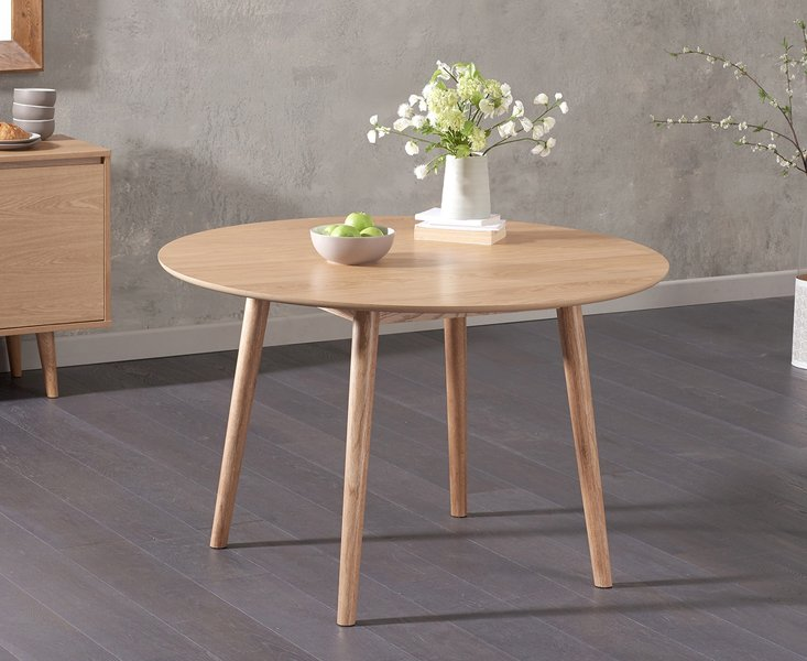 Photo of Newark round 120cm oak dining table